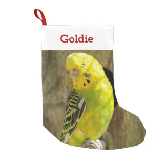 Cute Pet Bird Lover Photo and Name Personalized Small Christmas Stocking