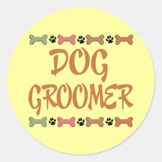 Cute Pet Occupation Dog Groomer Round Sticker