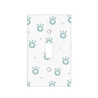 Cute Pet Paws w.Hearts Nursery Light Switch Cover