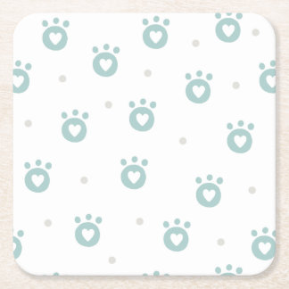 Cute Pet Paws with Hearts | Paper Coasters