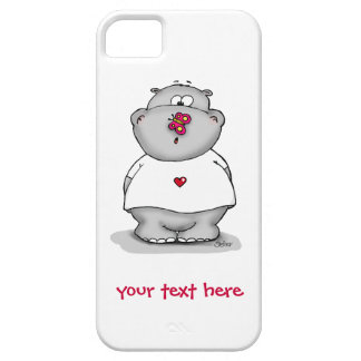 Cute phone case Hippo with Butterfly on his nose