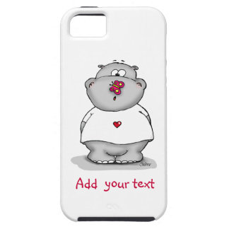 Cute phone case - Hippo with Butterfly on his nose iPhone 5 Case