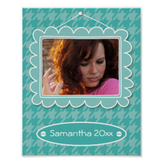 Cute photo frame with houndstooth pattern poster