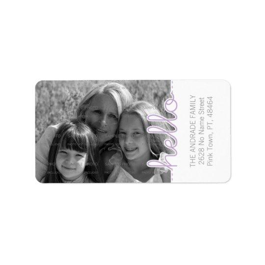 Cute Photo Purple White Hello Cutout Vertical Text Label