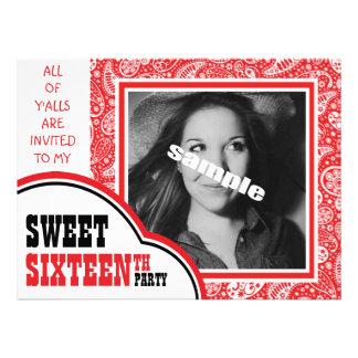 Cute Photo Sweet SIXTEEN Girl s Birthday Party Custom Invitations