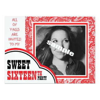"Cute Photo Sweet SIXTEEN Girl's Birthday Party 6.5"" X 8.75"" Invitation Card"