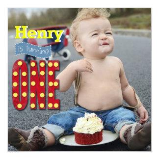 Cute Photo Vintage, First Year Birthday Invitation