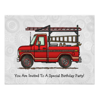 Cute Pickup Truck Personalized Invitations
