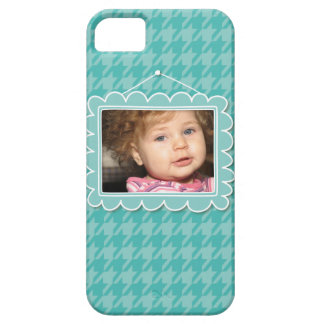 Cute picture frame with blue houndstooth iPhone 5 case