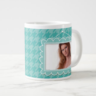 Cute picture frame with blue houndstooth jumbo mug