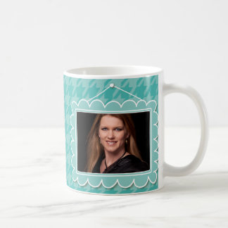 Cute picture frame with houndstooth basic white mug