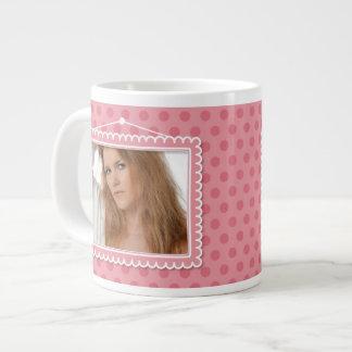 Cute picture frame with polkadots jumbo mug