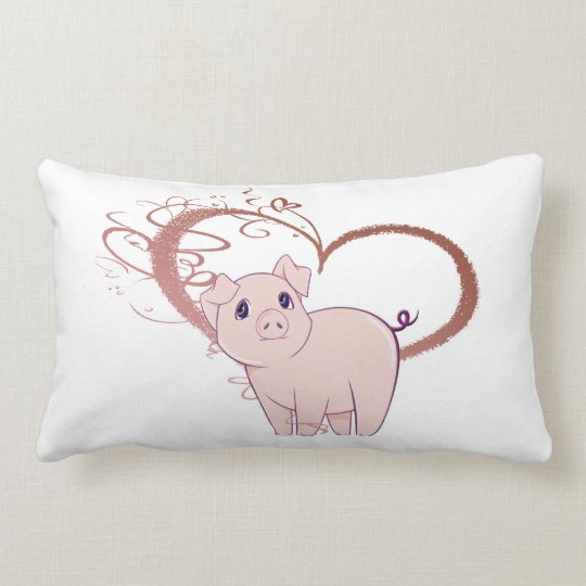 Cute Pig and Swirl Heart Pillow
