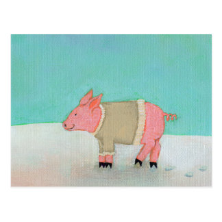 Cute pig art winter snow scene warm sweater postcard