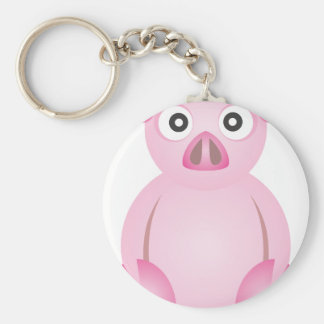Cute Pig Basic Round Button Keychain