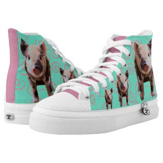 Cute Pig - Blue & Pink Swirls High Tops