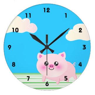 Cute pig cartoon clock