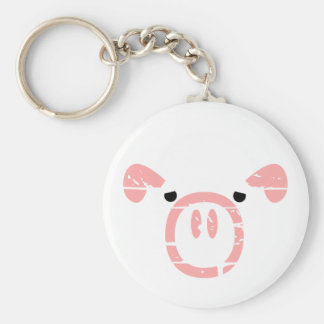Cute Pig Face illusion. Basic Round Button Keychain