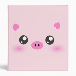 Cute Pig Face - kawaii minimalism Vinyl Binder