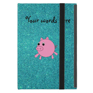 Cute pig faux turquoise glitter cover for iPad mini