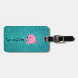 Cute pig faux turquoise glitter luggage tag