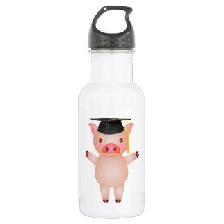 Cute Pig in Graduation Cap 532 Ml Water Bottle