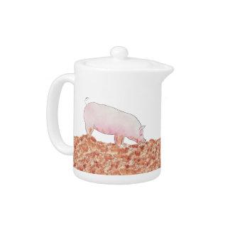 Cute Pig in Mud Funny Watercolour Animal Art