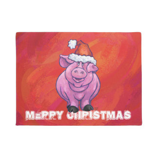 Cute Pig in Santa Hat on Red Doormat
