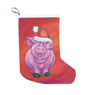 Cute Pig in Santa Hat on Red Small Christmas Stocking
