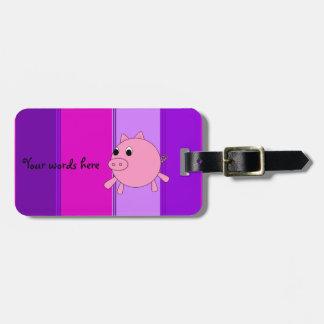 Cute pig luggage tag