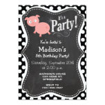 "Cute Pig on Black and White Polka Dots 5"" X 7"" Invitation Card"