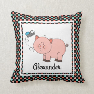 Cute pig on black w colours, personalize w Name Throw Pillow