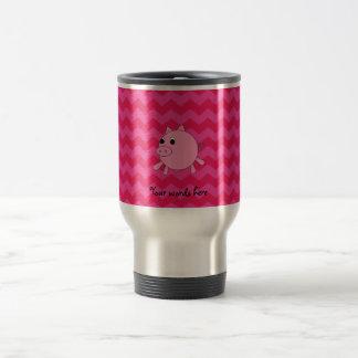 Cute pig pink chevrons travel mug