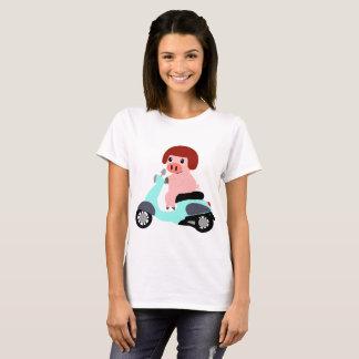 Cute Pig Riding a Scooter T-Shirt