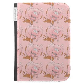 Cute pig slashing mud kindle folio case
