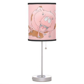 Cute pig slashing mud table lamp