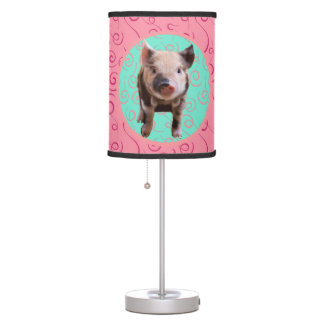 Cute Pig - Turquoise & Melon Swirls Table Lamp