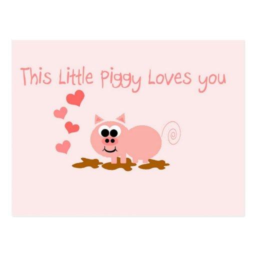 Cute Pig Valentine's Day Postcard