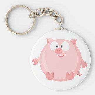 Cute piggy basic round button keychain