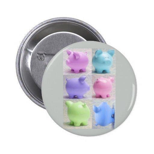 Cute Piggy Collage Button