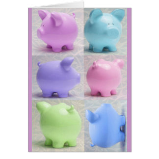 Cute Piggy Collage Greeting Card