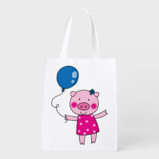 cute piggy girl with a blue balloon reusable grocery bags