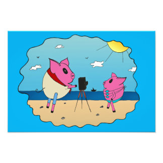 Cute pigs on the beach. photograph