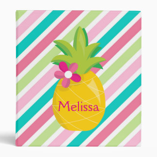 Cute Pineapple on Striped Background 3 Ring Binder