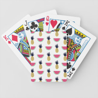 Cute Pineapple & Watermelon Doodle Pattern Bicycle Playing Cards