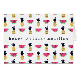 Cute Pineapple & Watermelon Doodle Pattern Card