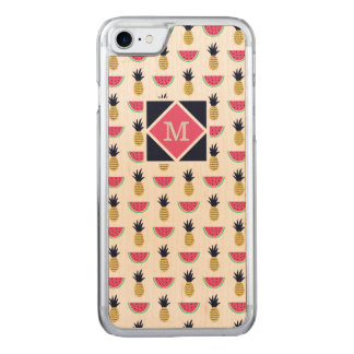 Cute Pineapple & Watermelon Doodle Pattern Carved iPhone 8/7 Case