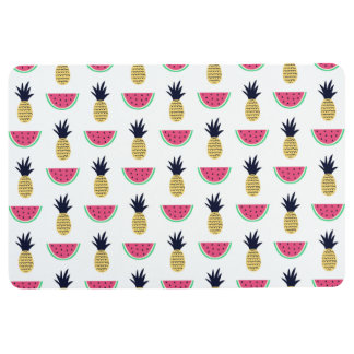 Cute Pineapple & Watermelon Doodle Pattern Floor Mat