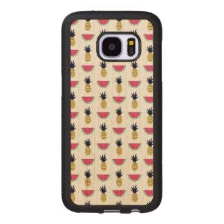 Cute Pineapple & Watermelon Doodle Pattern Wood Samsung Galaxy S7 Case