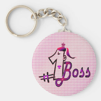 Cute pink  #1 boss keychain for her